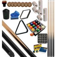 CPS Cassia 57 nera kit gioco pool. 4 stecche corredate da cuoi, ferule e paracolpo e in abbinamento un set di biglie pool mm.57, 2 corredato di triangolo e rombo. In omaggio sc. Gesso e porta gesso.