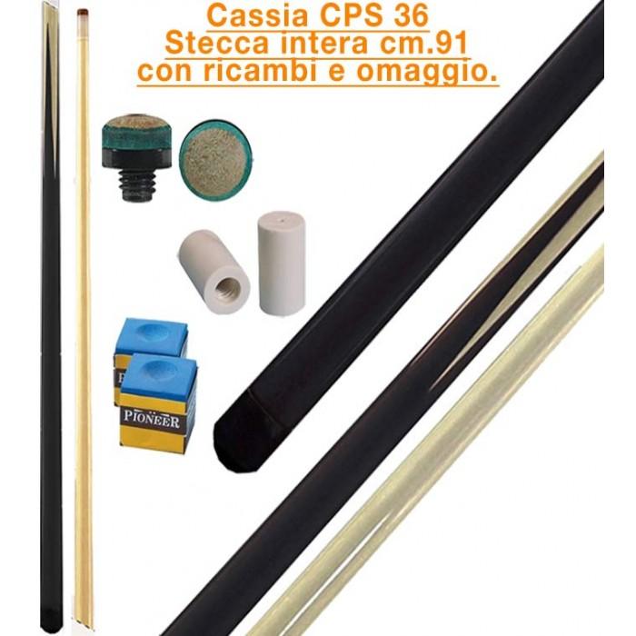CPS Cassia 36 nera stecca intera cm.91 biliardo tutte le discipline con cuoi e ghiere-ferule di ricambio. Gessi in omaggio.
