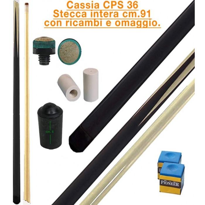 CPS Cassia 36 stecca intera cm.91 biliardo tutte le discipline con cuoi, ghiere-ferule e paracolpo di ricambio.Gessi in omaggio.