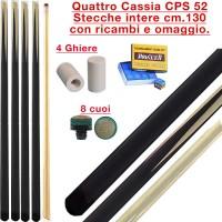 CPS Cassia 52  quattro stecche intere cm.130 per biliardo tutte le discipline con ricambi e omaggio.