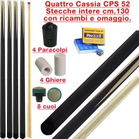 CPS Cassia 52 quattro stecche intere cm.130 biliardo tutte le discipline con cuoi, ghiere-ferule e paracolpo di ricambio. Gessi in omaggio.