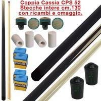 CPS Cassia 52 coppia stecche intere cm.130 biliardo tutte le discipline con cuoi, ghiere-ferule e paracolpo di ricambio. Gessi in omaggio.
