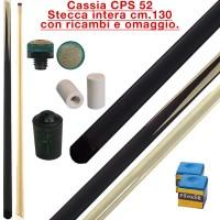CPS Cassia 52 stecca intera cm.130 biliardo tutte le discipline con cuoi, ghiere-ferule e paracolpo di ricambio. Gessi in omaggio.