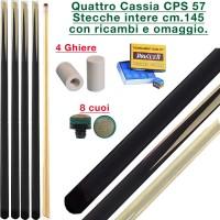 CPS Cassia 57 quattro stecche intere cm.145 biliardo tutte le discipline con cuoi e ghiere-ferule di ricambio. Gessi in omaggio.