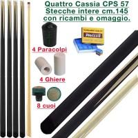 CPS Cassia 57 quattro stecche intere cm.145 biliardo tutte le discipline con cuoi, ghiere-ferule e paracolpo di ricambio. Gessi in omaggio.