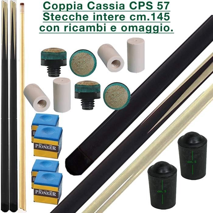 CPS Cassia 57 nera coppia stecche intere cm.145 biliardo tutte le discipline con cuoi, ghiere-ferule e paracolpo di ricambio. Gessi in omaggio.