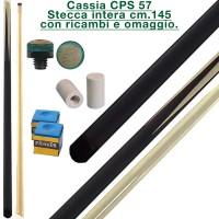 CPS Cassia 57 nera stecca intera cm.145 biliardo tutte le discipline con cuoi e ghiere-ferule di ricambio. Gessi in omaggio.
