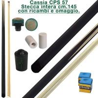 CPS Cassia 57 nera stecca intera cm.145 biliardo tutte le discipline con cuoi, ghiere-ferule e paracolpo di ricambio.Gessi in omaggio.