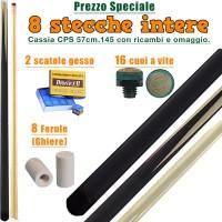 Speciale! CPS Cassia 57 otto stecche intere cm.145 biliardo tutte le discipline con cuoi e ghiere-ferule di ricambio. Gessi in omaggio.