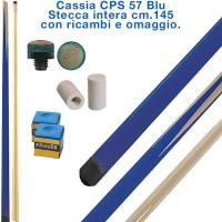 CPS Cassia 57 Blu stecca intera cm.145 biliardo tutte le discipline con cuoi e ghiere-ferule di ricambio. Gessi in omaggio.