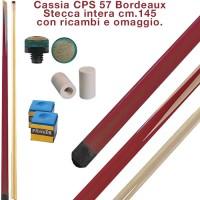 CPS Cassia 57 Bordeaux stecca intera cm.145 biliardo tutte le discipline con cuoi e ghiere-ferule di ricambio. Gessi in omaggio.