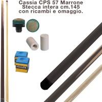 CPS Cassia 57 Marrone stecca intera cm.145 biliardo tutte le discipline con cuoi e ghiere-ferule di ricambio. Gessi in omaggio.