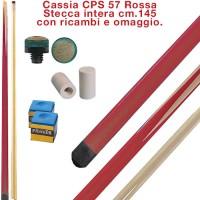 CPS Cassia 57 Rosso stecca intera cm.145 biliardo tutte le discipline con cuoi e ghiere-ferule di ricambio. Gessi in omaggio.