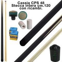 CPS Cassia 48 stecca intera cm.120 biliardo tutte le discipline con cuoi, ghiere-ferule e paracolpo di ricambio. Gessi in omaggio.