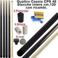 CPS Cassia 48 quattro stecche intere cm.120 per biliardo tutte le discipline con 3 ricambi e omaggio