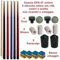 CPS Cassia 57 color, coppia stecche intere cm.145 biliardo tutte le discipline colore a scelta. con cuoi, ghiere-ferule e paracolpo di ricambio. Gessi in omaggio.