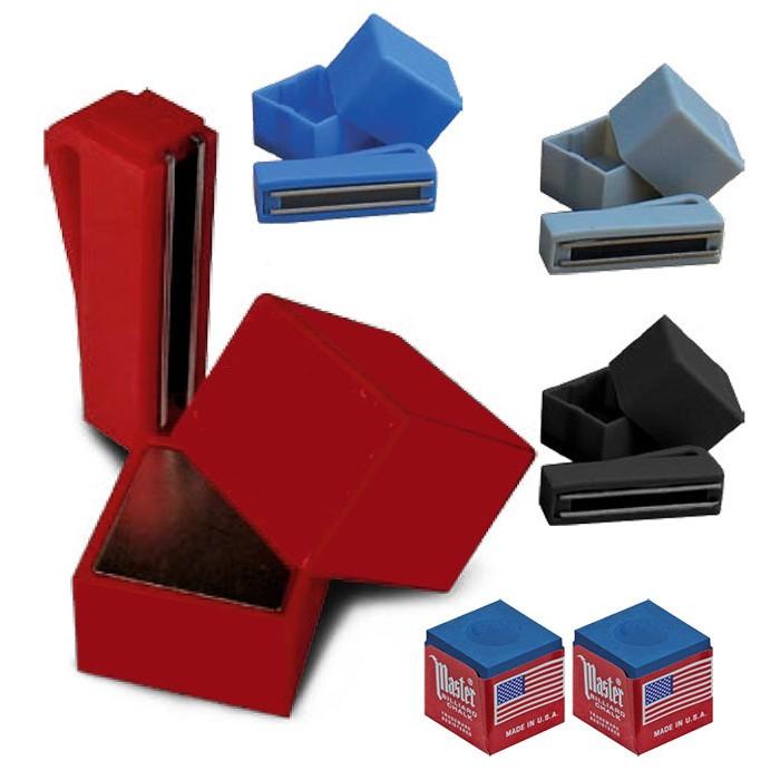 Portagesso magnetico per gesso da biliardo, vari colori, con coppia di gessi Tweeten Master blu.