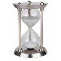 Clessidra segnatempo in acciaio e vetro. Durata 30 minuti: H cm.22,5.