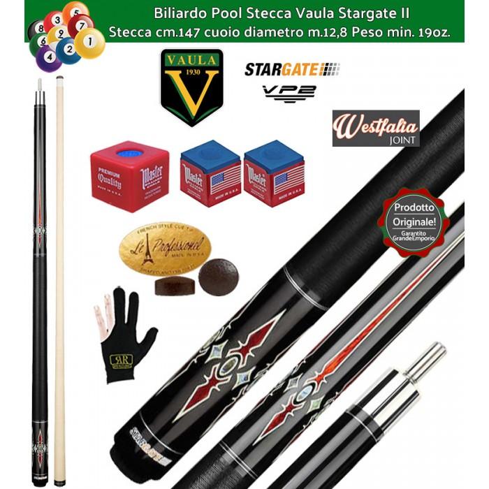 Stecca biliardo Vaula Stargate II 30053 per Pool / Carambola 15 palle. Stecca smontabile, calcio e punta, cm.147. Punta in acero canadese, cuoio m.12,8. Con accessori in omaggio.