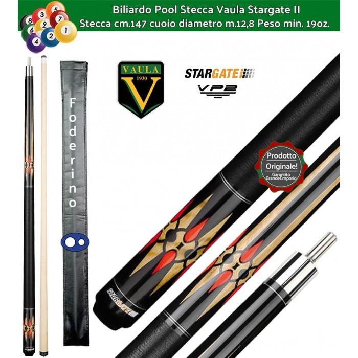 Stecca biliardo Vaula Stargate II 30052 per Pool / Carambola 15 palle. Stecca smontabile, calcio e punta, cm.147. Punta in acero canadese, cuoio m.12,8. Foderino in omaggio.