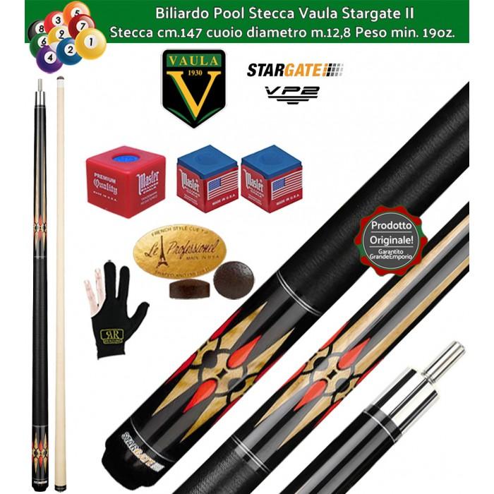 Stecca biliardo Vaula Stargate II 30052 per Pool / Carambola 15 palle. Stecca smontabile, calcio e punta, cm.147. Punta in acero canadese, cuoio m.12,8. Con accessori in omaggio.