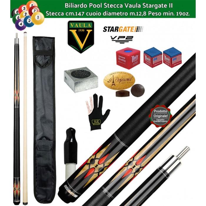 Stecca biliardo Vaula Stargate II 30052 per Pool / Carambola 15 palle. Stecca smontabile, calcio e punta, cm.147. Punta in acero canadese, cuoio m.12,8. Accessori in omaggio.