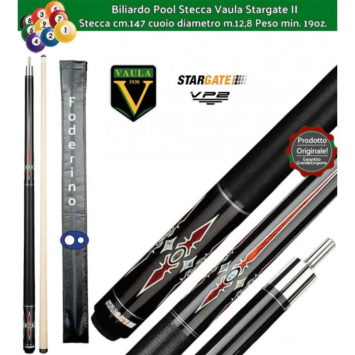 Stecca biliardo Vaula Stargate II 30053 per Pool / Carambola 15 palle. Stecca smontabile, calcio e punta, cm.147. Punta in acero canadese, cuoio m.12,8. Foderino in omaggio.