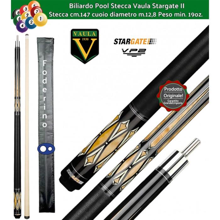 Stecca biliardo Vaula Stargate II 30054 per Pool / Carambola 15 palle. Stecca smontabile, calcio e punta, cm.147. Punta in acero canadese, cuoio m.12,8. Foderino in omaggio.