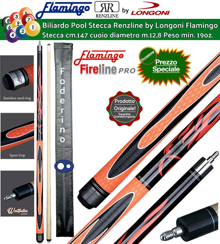 stecca biliardo pool longoni flamingo fire 1 orange pro con foderino. Black Bedroom Furniture Sets. Home Design Ideas
