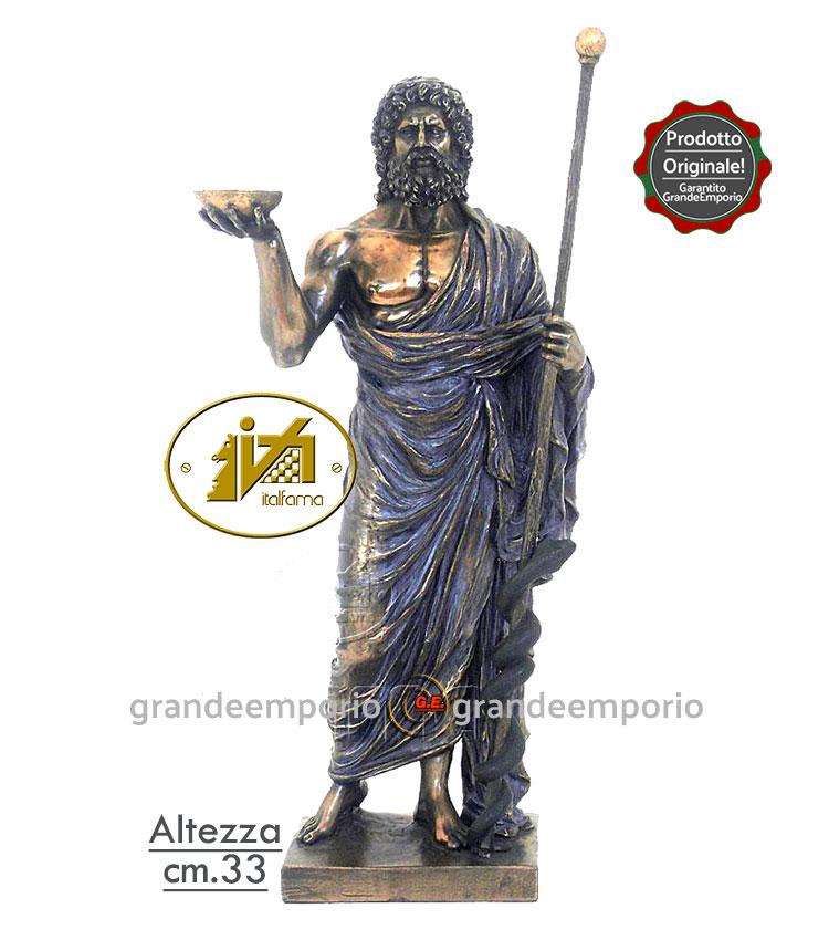 Statua resina bronzata Esculapio dio della medicina cm.33 Italfama Firenze